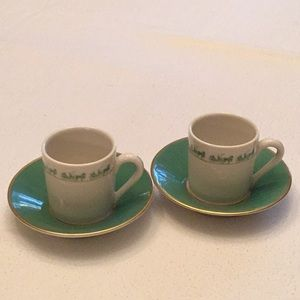 2 DEMITASSE CUPS WITH SAUCERS